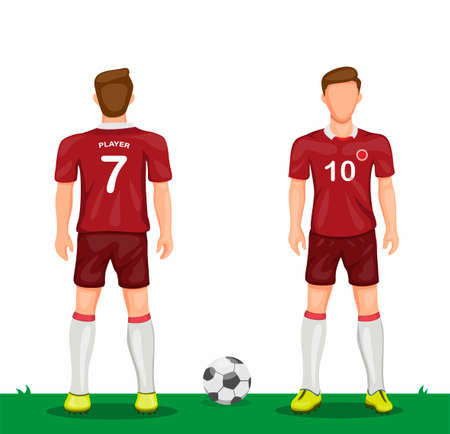 Soccer player in red uniform symbol icon set from rear and front view sport soccer jersey concept in cartoon illustration vector