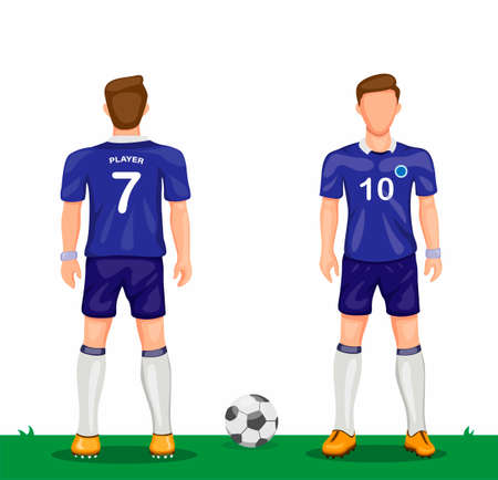 Soccer player in blue uniform symbol icon set from rear and front view sport soccer jersey concept in cartoon illustration vector