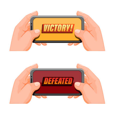 hand holding smartphone with victory and defeated pop up icon set, mobile gaming esport symbol in cartoon illustration vector