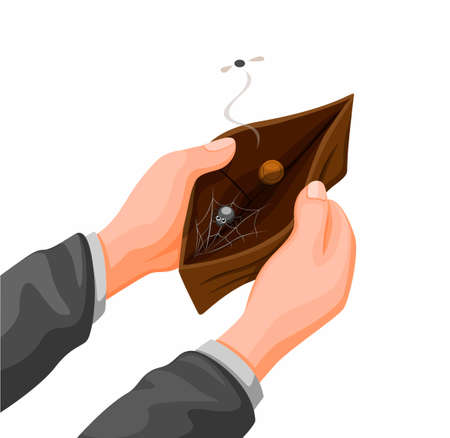 hand holding empty wallet with coin and web spider inside. financial problem symbol in cartoon illustration vector on white background Ilustração Vetorial