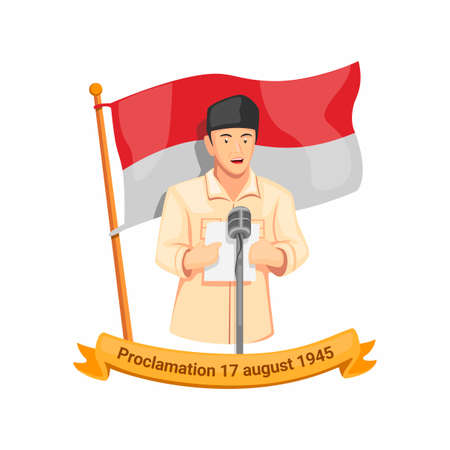 Indonesian first president bung karno speech proclamation in 17 august 1945. independence day celebration symbol in cartoon illustration vector isolated in white background