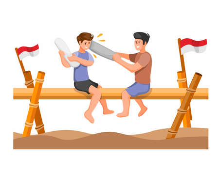 Pillow fight traditional game competition celebrate for indonesian independence day concept in cartoon illustrtion vector on white background