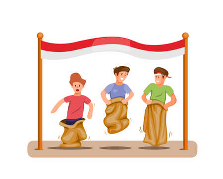 Boys play sack race competition to celebration indonesian independence day in 17 august concept in cartoon illustration vector isolated in white background