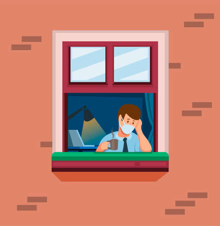 man on window work from home. man felling stress and bored in quarantine activities symbol concept in cartoon illustration vector