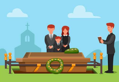 funeral ceremonial in christian religion. people sad family member passed away concept scene illustration in cartoon vector Ilustracje wektorowe