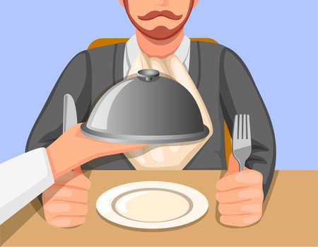 chef hand serving food in tray to customer in restaurant or cafe scene concept in cartoon illustration vector