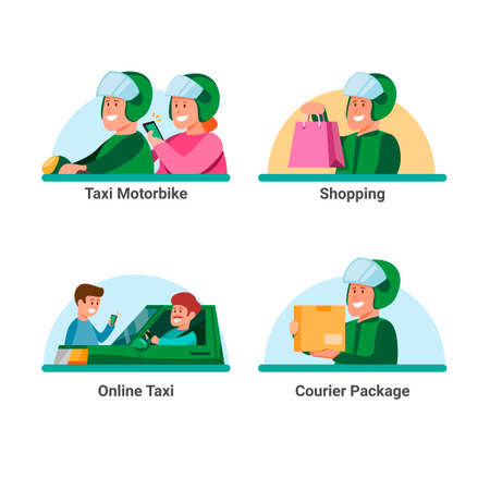 Online transportation service icon set. taxi online with customer and courier delivery package job symbol in cartoon illustration vector isolated in white background