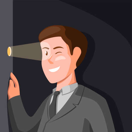 Businessman stalking from Door hole. stalker symbol concept in cartoon illustration vector Illustration