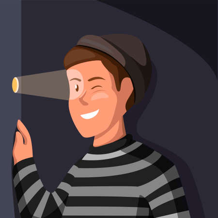 Stalker crime activity. thief man wear strip shirt looking from hole wall in cartoon illustration vector