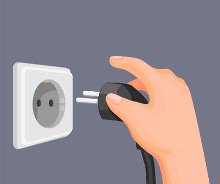 hand put electric plug to socket outlet in wall. electricity energy saving symbol in cartoon illustration vector