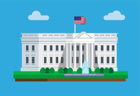 The White House Building in Washington D.C America famous landmark concept in cartoon flat illustration vector