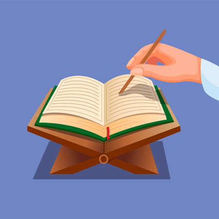 Muslim reading quran. hand with open book quran praying activities in islam religion concept in cartoon illustration vector Ilustração