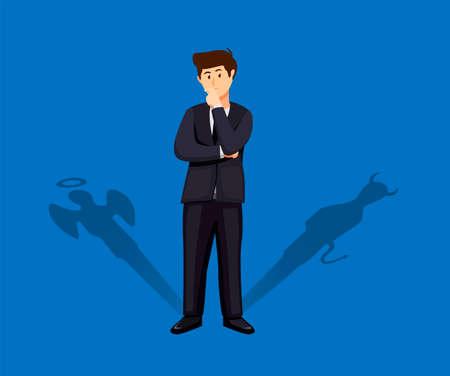 businessman standing with his devil and angel shadow. decision making concept in cartoon illustration vector Ilustración de vector