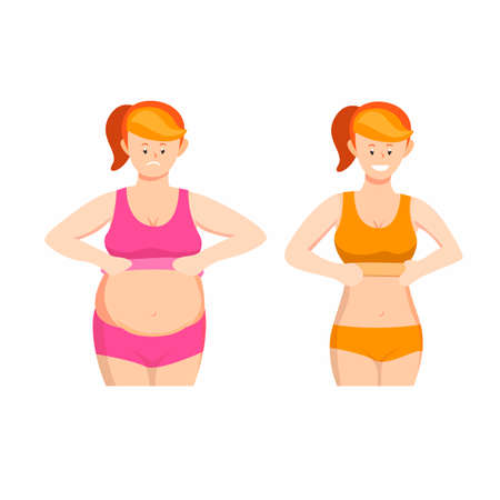 woman fat and slim body symbol icon set concept in cartoon illustration vector on white background