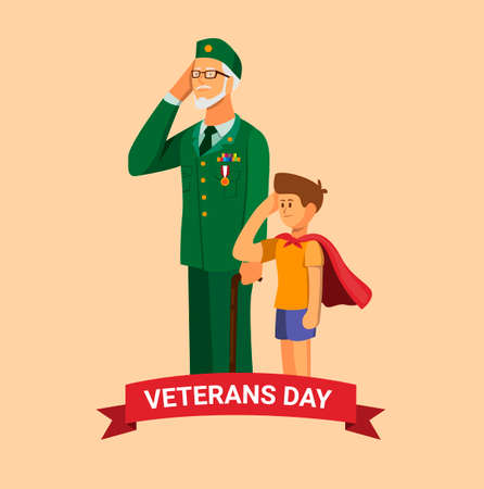 Veterans day. army veteran with grandchild giving salute and respect to national flag celebration symbol in cartoon illustration vector