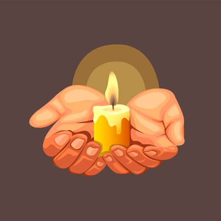 Hand hold candle light symbol for hope concept in realistic cartoon illustration vector on dark background