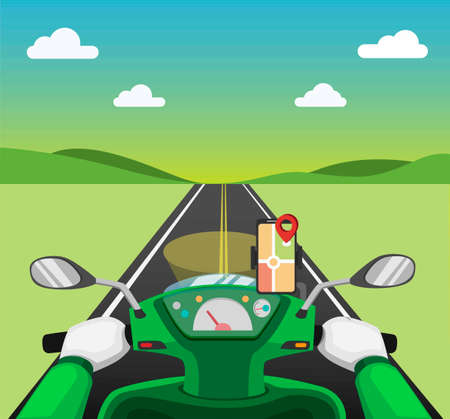 Riding motorcycle with gps map smartphone on dashboard from pov view. courier delivery service online transportation rider concept in cartoon illustration vector