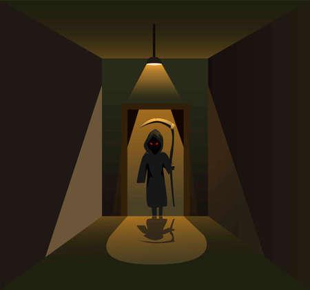 Killer angel sillhouette behind door on dark corridor room horror scene concept in cartoon illustration vector Vettoriali