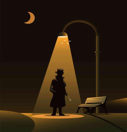 Sillhouette of Jack the ripper under street light at park in night. urban legend horror scene concept illustration vector Ilustracja