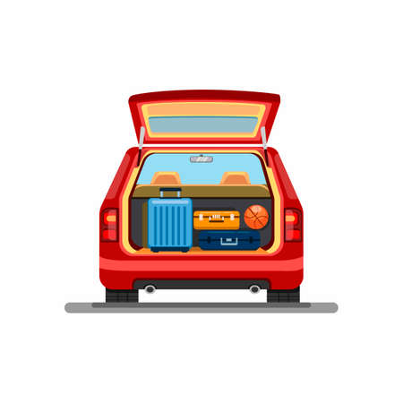 Suitcase luggage on trunk car. holiday vacation ride car symbol in cartoon illustration vector on white background