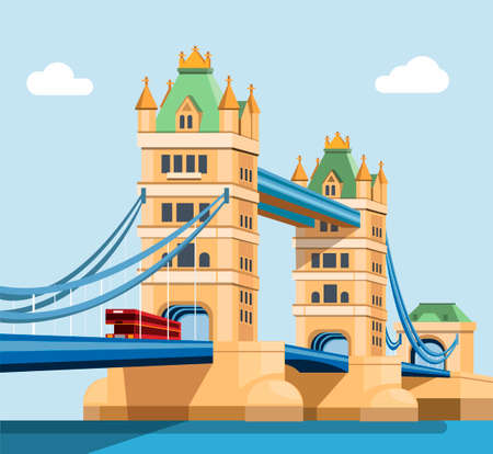 London Tower Bridge across the river thames. famous landmark building in United Kingdom illustration concept in flat cartoon vector