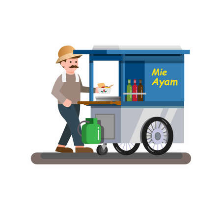 Man selling chicken noodle aka mie ayam is traditional street food from Indonesia concept in cartoon flat illustration vector Иллюстрация