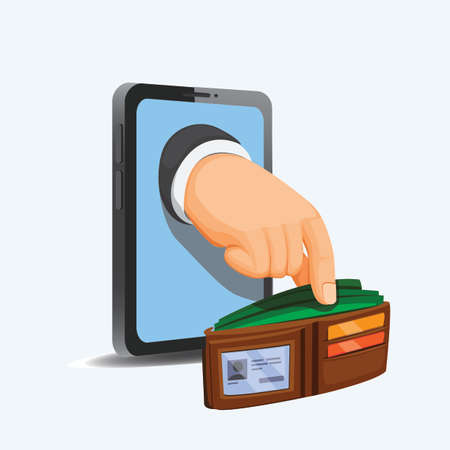Hand take money on wallet from phone. internet scammer and financial concept in cartoon illustration vector isolated in white background