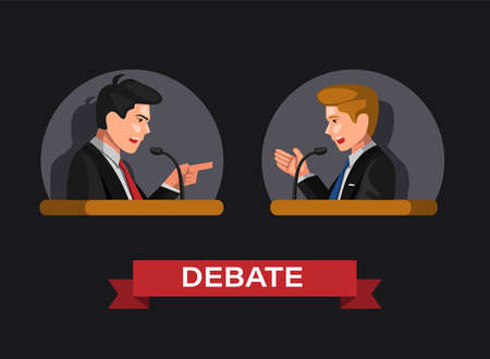 Debate in presidential election or law and business activity symbol in concept cartoon illustration vector