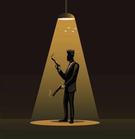 Spy in tuxedo holding gun sillhouette under spotlight symbol illustration vector
