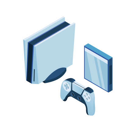 Modern game console set with joypad and cd case concept in isometric vector