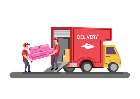sofa delivery or moving van furniture service concept in flat cartoon illustration vector on white background