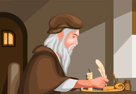 old man writing with feather pen in scroll paper biography history scene concept in cartoon illustration vector