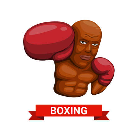 Boxing man symbol character concept in cartoon illustration vector on white background