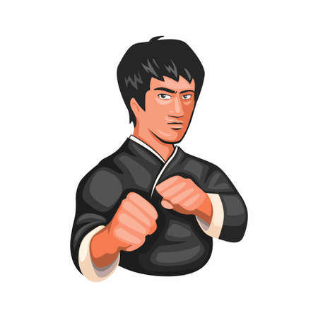 Bruce lee kungfu jeet kune do martial art figther character in cartoon illustration vector isolated in white background 向量圖像