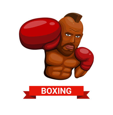 Boxer fighter punch figure character symbol boxing athlete sport concept in cartoon illustration vector on white background