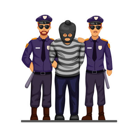 Police caught terrorist or criminal man with handcuff symbol concept in cartoon illustration vector isolated in white background