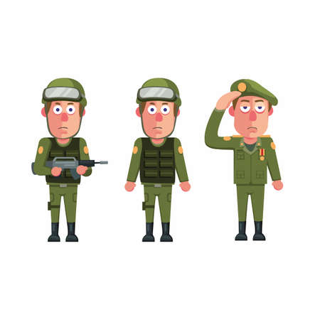 Soldier army man uniform character icon set concept in cartoon illustration vector isolated in white background