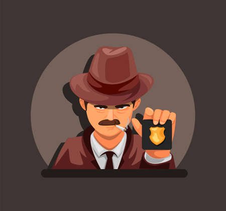 Detective showing police badge. criminal case investigation agent character concept in cartoon illustration vector