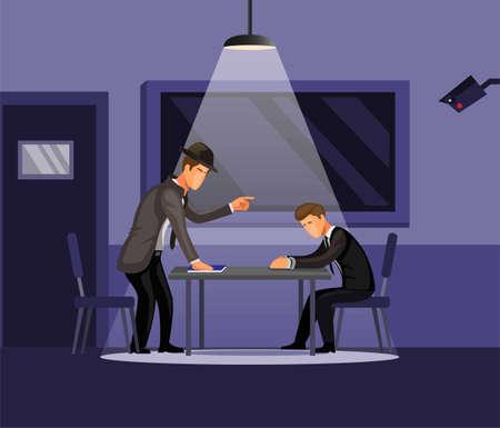 Police detective intrrogation man to investigation crime case concept in cartoon illustration vector