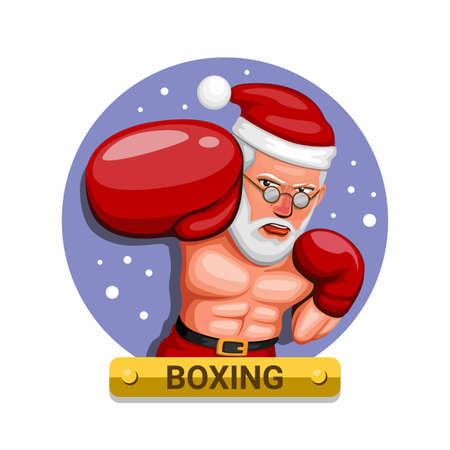 Boxer in Santa costume. boxing sport in christmas season character concept in cartoon illustration vector