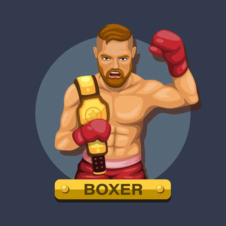 Boxer, boxing athlete with championship belt character concept in cartoon illustration vector