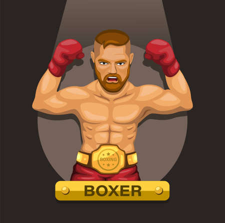 Boxer, boxing athlete with champion belt on chest character concept in cartoon illustration vector