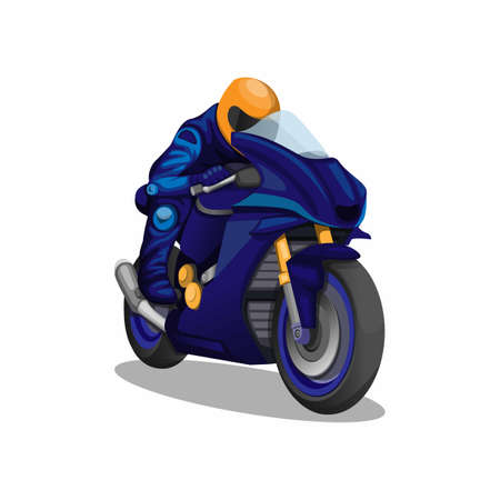 motorbike sport racing speeding in blue uniform character concept in cartoon illustration vector on white background  イラスト・ベクター素材