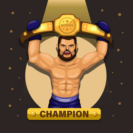 Boxer champion, boxing athlete carrying award belt concept in cartoon illustration vector