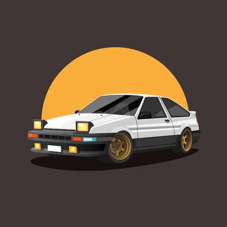 Retro car on sunset. drift race car concept in cartoon illustration vector Ilustração