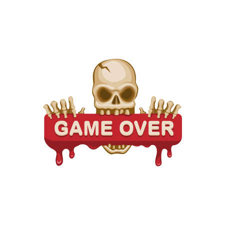 Game over message skull blood sign concept in cartoon illustration vector isolated in white background Иллюстрация