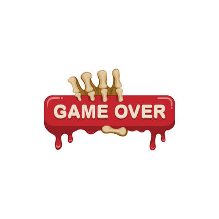 Game over sign symbol with skull hand concept in cartoon illustration vector on white background
