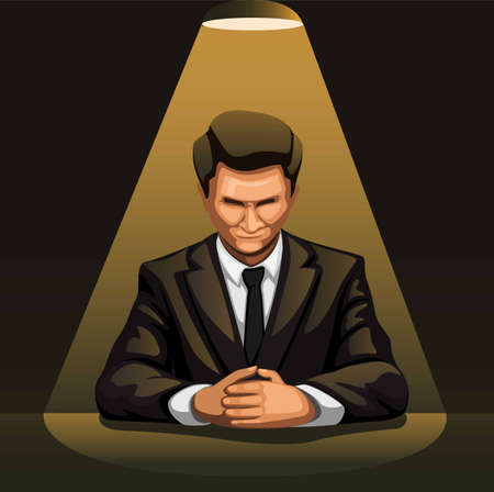 Businessman portrait under spotlight in dark room for interrogation concept in cartoon illustration vector