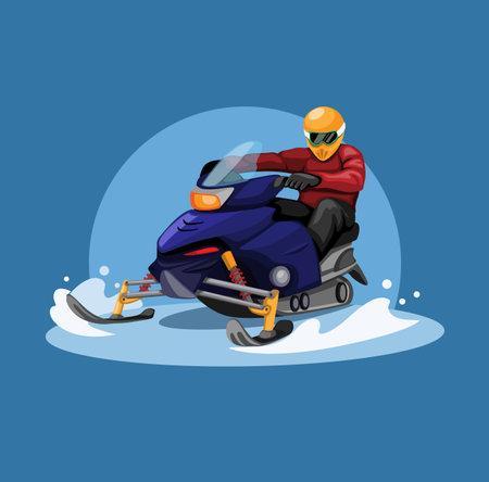 Snowmobile racing in winter season concept in cartoon illustration vector