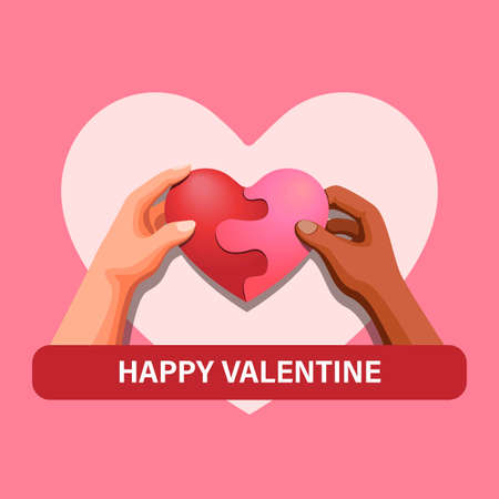 Happy Valentine. two people hand hold heart puzzle, love diversity symbol concept in cartoon illustration template vector